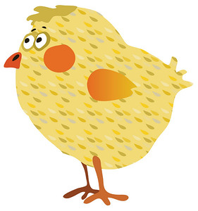 funny illustration of a Yellow chicken