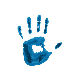 Child blue handprint