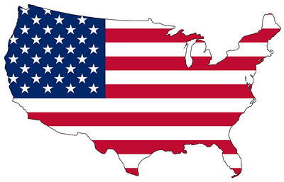Map of the United States of America in national colors