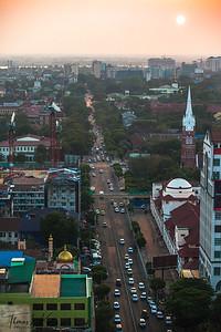 Yangon cityscape.