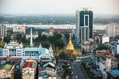 Yangon cityscape with Sule Pagoda. Myanmar.