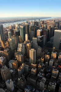 Aerial view over west midtown Manhattan, Times squarefrom Empire State building at sunset, New York