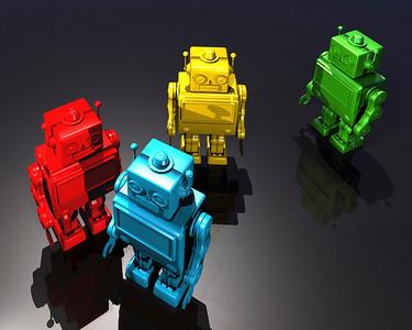 Four retro style robots moving forward