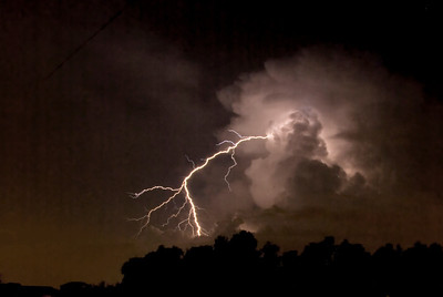 A close strike of lightning on a warm summer night