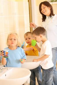 preschoolers in bathroom ready to clean teeth
