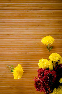Sparsed yellow and magenta flowerd on wooden background