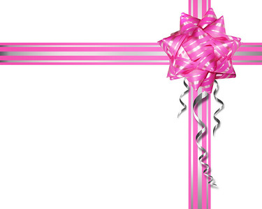 Pink tape with a bow on a white background