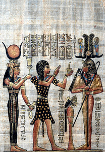Papyrus with elements of egyptian ancient civilization