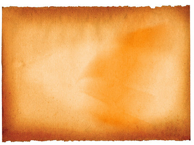 sheet of old paper yellowed on edges isolated on white
