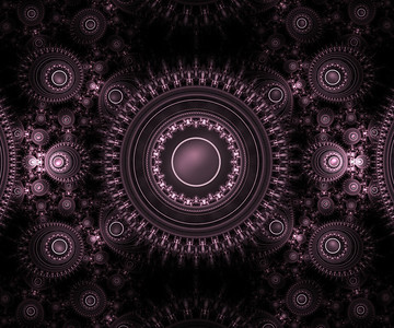 Beautifully textured Julian formula fractal art design in varying shaed of light and dark purple.