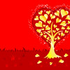 Valentines Day background with Hearts and tree, element for design, vector illustration