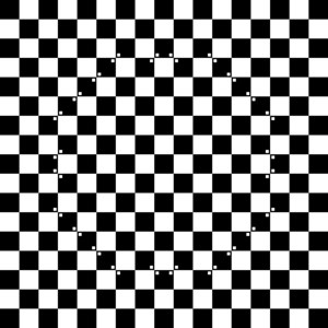All white and black squares are equal size. The small white points make the illusion of a ball in the middle.