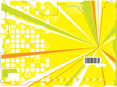 An abstract illustrated technology background in yellow and green