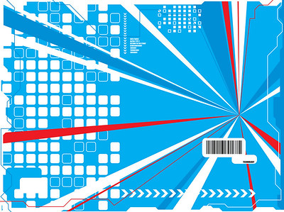 A technical background in a futuristic style with red white and blue shapes