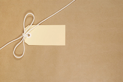 Parcel wrapped in mottled brown paper with nylon string and buff address label.