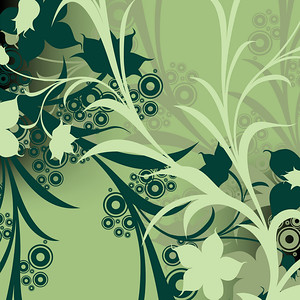 abstract floral composition; design with circles and flowers