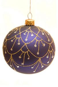 decorative blue Christmas bulb isolated on white