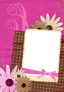 pink and brown scrapbook page for one photo in retro style with decorations