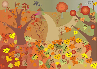 Vector illustration of medaow in the autumn with lot of fallen leaves