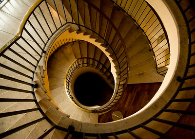 Luxurious Spiral Staircase with Stone Steps