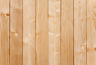 Close up of panels in a pine wood fence.