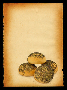 buns pile agaisnt retro paper background, all isolated on deep black
