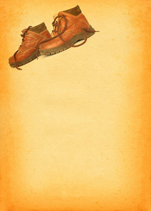 boots profile against retro stained paper background