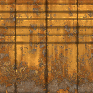 an old yellow rusty and grungy metal wall