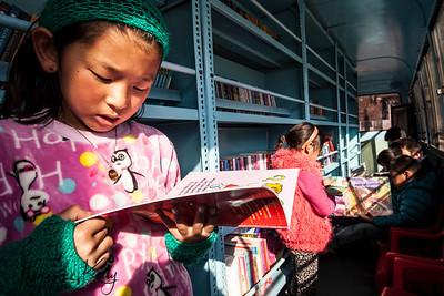 Mobile Library bus. Paro, Bhutan.