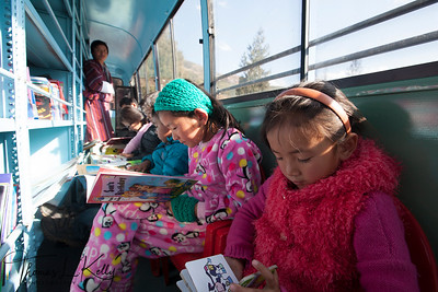 Mobile Library bus. Paro, Bhutan.