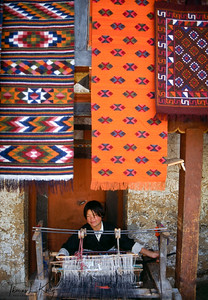 Weaving is such an integral part of Bhutan's cultural identity that it is sometimes described as a cloth-based culture. Bhutan's weavers, almost all women, are renowned for producing a range of interesting and beautiful textiles in vibrant colours and patterns. These fabrics, which until recently were largely unknown outside of Bhutan, are so exceptional that they are featured in several private collections and museums in Europe and America. Bhutanese weaving has developed, with new designs and colors, but weavers still produce the same items their ancestors did centuries ago.