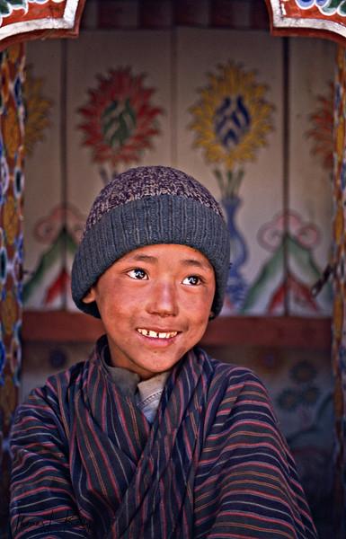 Bhutanese kid wearing gho.