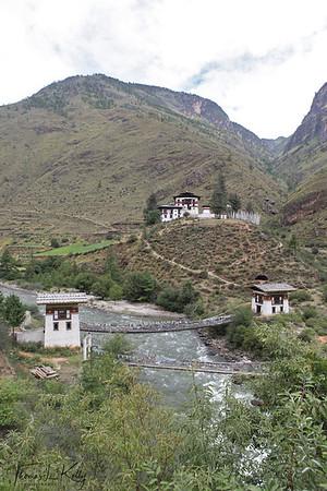 Chazam Bridge, build by Tibetan bridge builder Thang Gyalpo. He was the iron bridge builder in 15th century. (Cha = Iron, Zam = bridge). Outskirts of Paro. Bhutan.