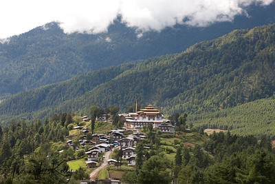 Gangtey village with the Gangtey Monastery. Phobjika, Bhutan.