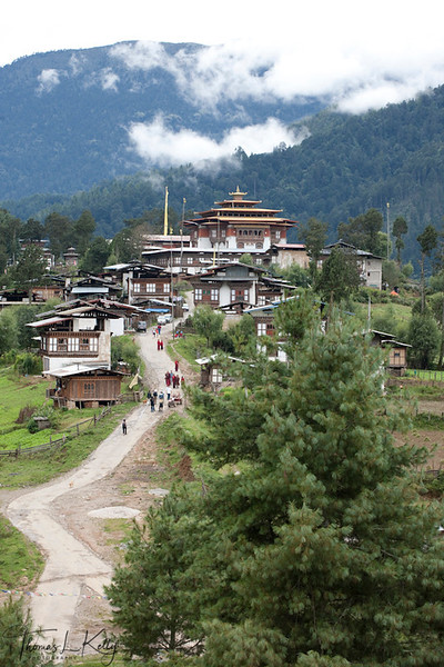 Gangtey village with the Gangtey Monastery. Phobjika, Bhutan.