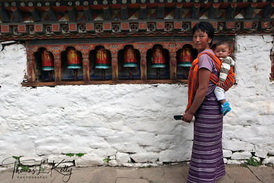 Prayer wheels at Kyichu lakhang. It was built by Trong Song Gompo in process of building 108 temples  in himlayas. Paro, Bhutan.