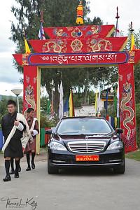 Bhutanese Queen Mother's car at Kyichu Lakhang. Bhutan.
