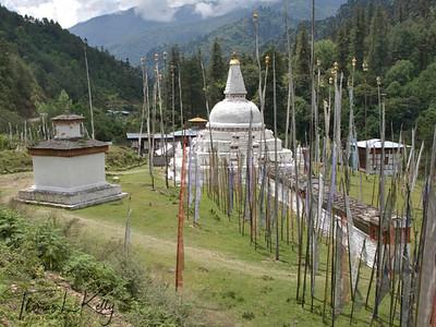 Nepali style stupa. Outskirts of Trongsa. Bhutan