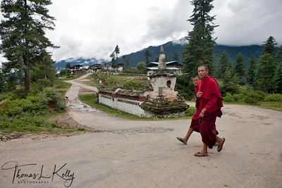 Monks from Gangtey Goempa walk pass entrance chorten/mani wall to Gangtey village. Phobjika, Bhutan.