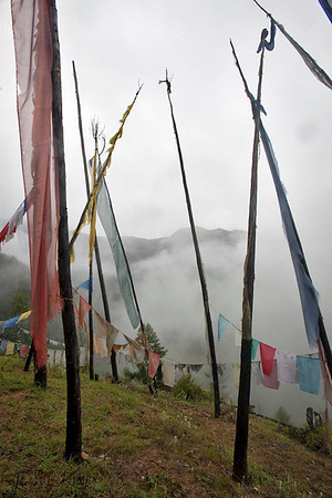 Buddhist prayer flags at Taktsang Monastery. Paro Valley, Bhutan.