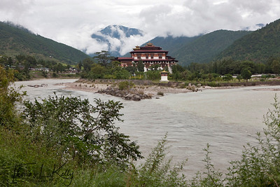 Punakha Dzong with Mo and Chu confluence. Bhutan.