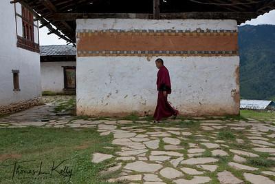 Tshedra, a monastic school, where Bhutanese people study to become a monk.   Outskirts of Phobjika. Bhutan.