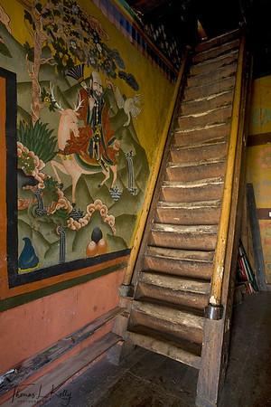 Monastic wall painting at Ugyen Choling Palace.  Bumthang. Bhutan