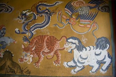 Monastic wall painting at Ugyen Choling Palace.  Bumthang. Bhutan