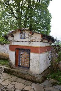 Chortens near Ugyen Choling Palace.  Bumthang. Bhutan