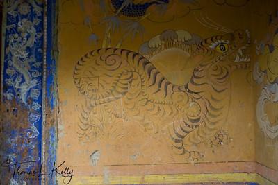Wall painting.  Wangde Choeling Dzong.