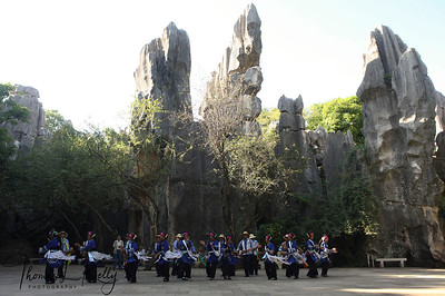 Traditional dance performance at Shilin Stone Forest. Yunnan Province, South West China.
