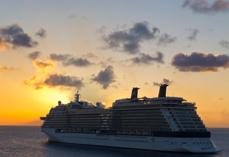 Caribbean Cruise Ship Sunset