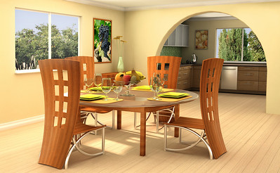 Modern dining room with a kitchen on background This is 3d rendering, so if you want some modifications to the scene, change color scheme or have lave large file, just ask.