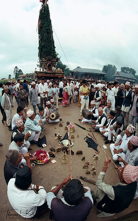 Priest perform ritual prior to pulling Rato Macchendranath chariot through Patan. Nepal